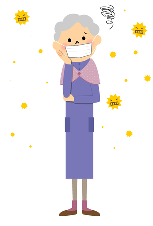 Senior citizen with hay fever