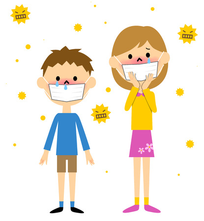 Child with hay fever Ilustrace