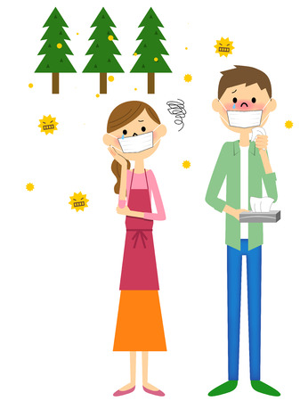 Couple with hay fever Illustration