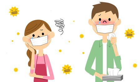 Couple avec le rhume des foins Vecteurs
