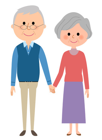 woman middle age: Elderly couple Illustration