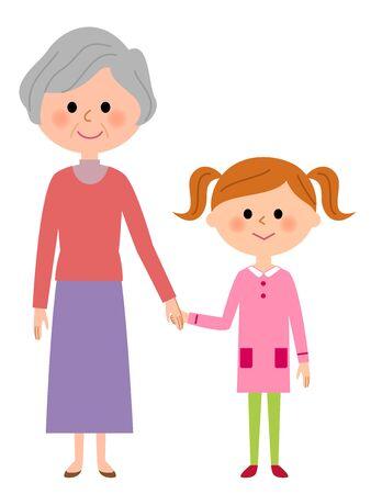 祖母と少女