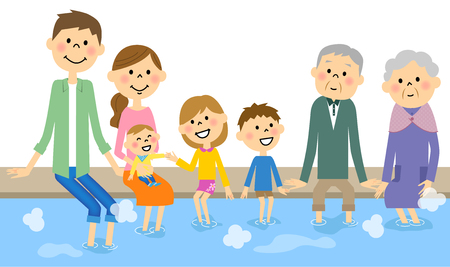 enters: The family who enters a foot bath