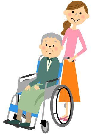 pflegeversicherung: The elderly to sit in a wheelchair, nursing care