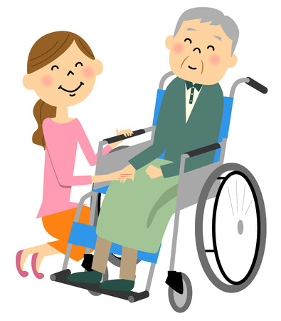 pflegeversicherung: Die älteren Menschen in einem Rollstuhl, Pflege sitzen Illustration