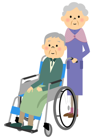 woman middle age: The elderly to sit in a wheelchair, nursing care