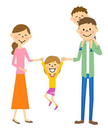 Girls to jump among parents Vectores