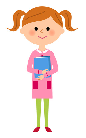 The girl who holds a book Illustration
