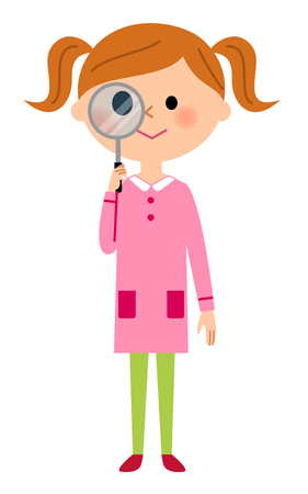 The girl who looks stealthily at a magnifying glass Vectores