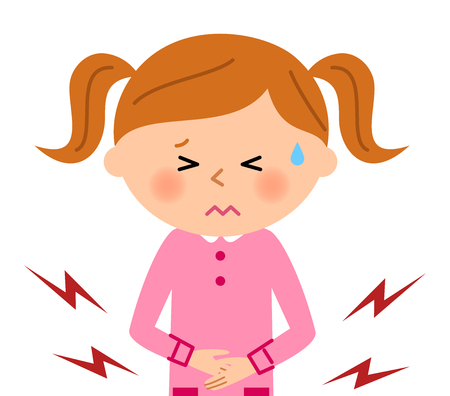 escuela infantil: La chica que tiene un dolor de estómago