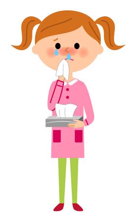 Girl of the stuffy nose Illustration