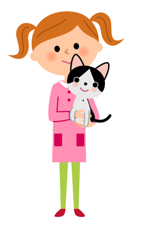The girl who holds a cat