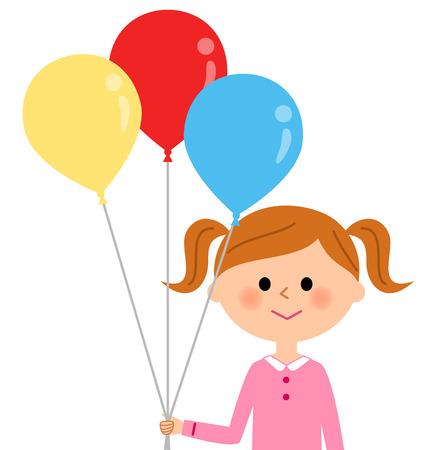asian family: Girl with a balloon