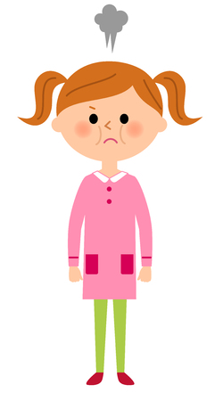 unhappy family: The girl who gets angry Illustration
