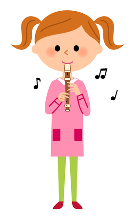 Girls blowing a recorder Illustration