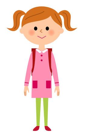 The girl who shoulders a school satchel
