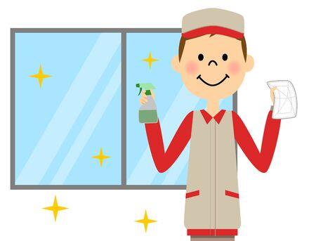 窓を洗う男  イラスト・ベクター素材