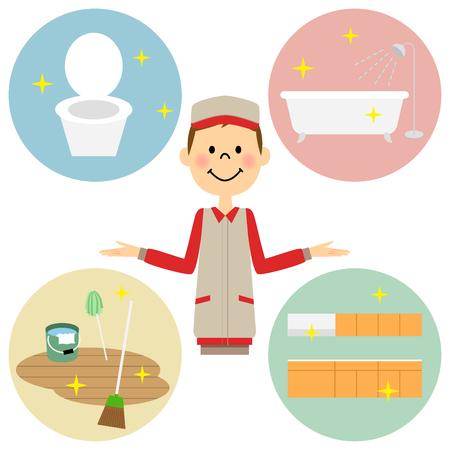 様々 な家事と男性  イラスト・ベクター素材