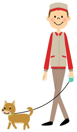 犬を散歩する人  イラスト・ベクター素材