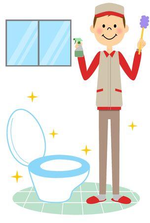 화장실 청소를하는 사람