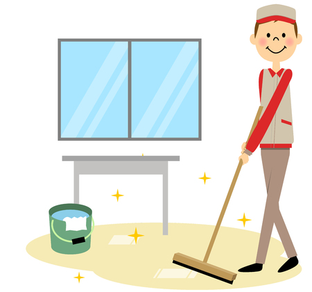 wood flooring: The man who cleans a company Illustration