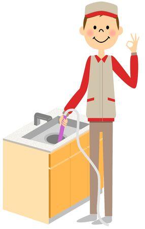 ドレインを洗う人