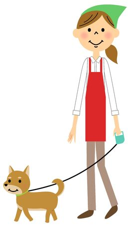 The female of the apron who strolls through a dog Illustration