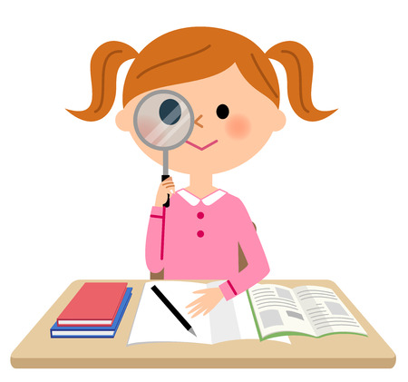 The girl who studies, magnifying glass