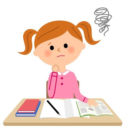 The girl who studies, Be worried Stock Illustratie