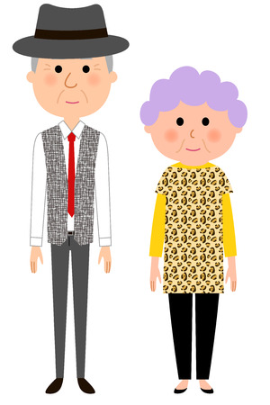 Fashionable elderly couple