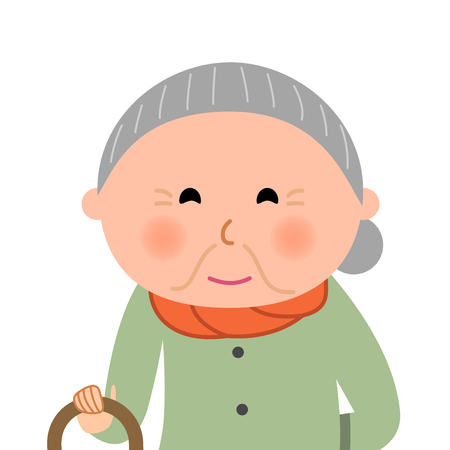 woman middle age: Elderly woman who are fashionable Illustration