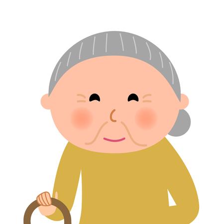 高齢者の女性  イラスト・ベクター素材