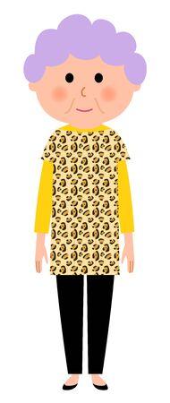 Elderly woman who are fashionable Иллюстрация