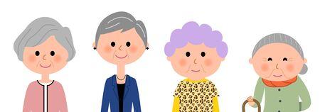 ファッショナブルな高齢の女性  イラスト・ベクター素材