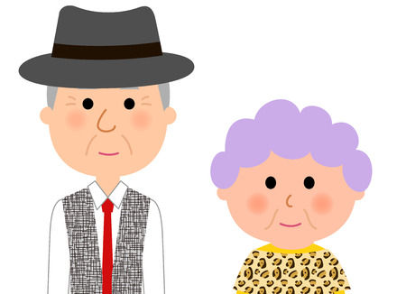 woman middle age: Fashionable elderly couple