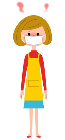 The female of the apron who becomes feverish Illustration
