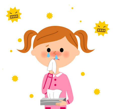Child with hay fever Vectores