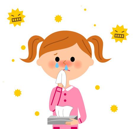 escuela infantil: Niño con fiebre del heno Vectores