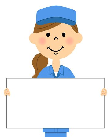 The female of the work arrive, White board Illustration