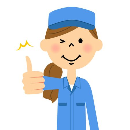 The female of the work arrive, Thumbs up Illustration
