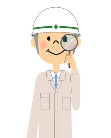 Site supervisor, Magnifying glass Illustration