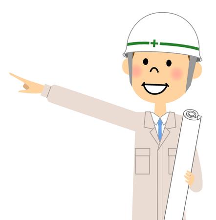 Site supervisor, Finger pointing Illustration