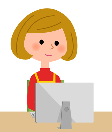 asian family: Woman in an apron who sits before monitoring Illustration
