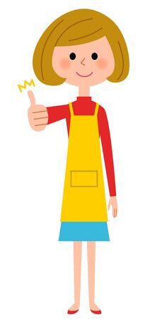 The female of the apron, thumbs up