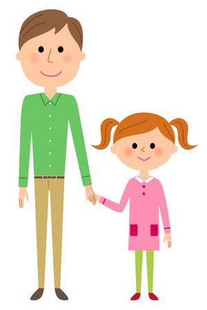 father: Father and girl Illustration