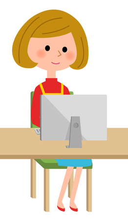 Woman in an apron who sits before monitoring Illustration