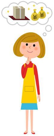Imagine an apron woman