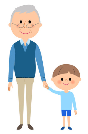 Grandpa and a boy Illustration