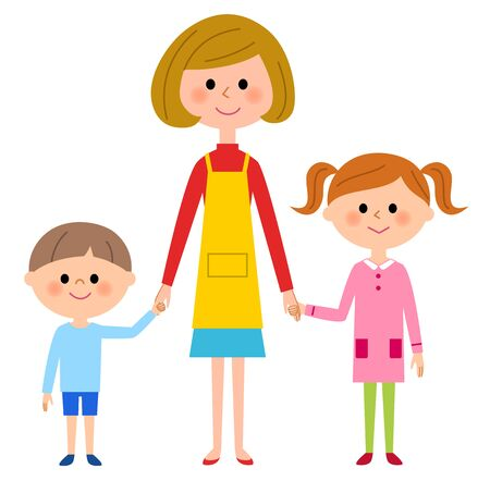 asian family fun: Mother and siblings Illustration