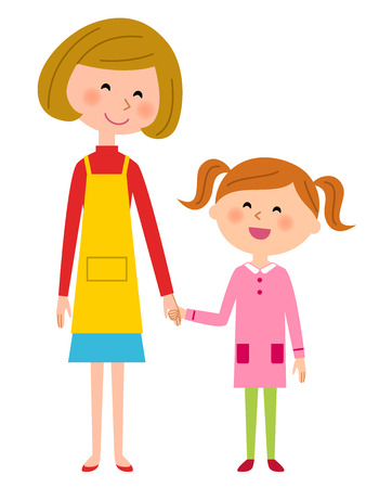 walk away: Mother and girl